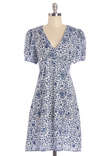 Saturday Best Dress in Floral - Blue, White, Floral, Casual, A-line, Short Sleeves, Woven, Better, International Designer, V Neck, Mid-length, Variation
