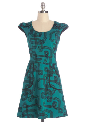 Westward Journey Dress in Trails - Blue, Black, Print, Pockets, Trim, Casual, A-line, Cap Sleeves, Woven, Better, Variation, Scoop, Mid-length