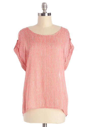 Breeze and Bevs Top in Pink - Pink, Short Sleeve, Mid-length, Woven, Pink, Stripes, Casual, Short Sleeves, Spring, Summer, White, Variation, Scoop, Good
