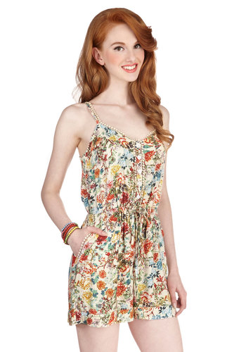 Smile With Me Romper in Floral - Jumper, Multi, Non-Denim, Romper, Long, White, Floral, Buttons, Pockets, Trim, Belted, Casual, Boho, Festival, Spring, Summer, Good, White, Sleeveless, Spaghetti Straps