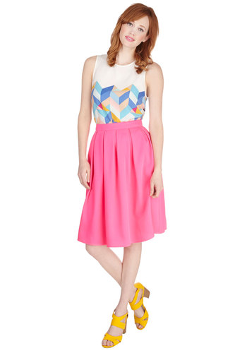 Going Neon and On Skirt - Good, Pink, Full, Spring, Summer, Pink, Solid, Pleats, Special Occasion, Party, Work, Girls Night Out, Daytime Party, Neon, Woven, Mid-length