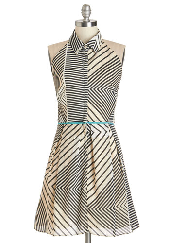 All Angled Up Dress - Tan / Cream, Black, Stripes, Buttons, Trim, Casual, Beach/Resort, A-line, Sleeveless, Summer, Woven, Better, Collared, Mid-length, Pockets