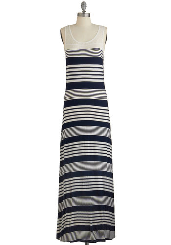 Acoustic Cutie Dress - Blue, White, Stripes, Casual, Nautical, Americana, Maxi, Sleeveless, Summer, Knit, Better, Scoop, Long