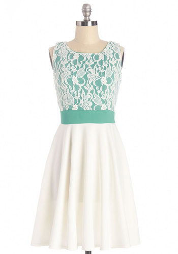 Groove You Right Dress - Green, White, Lace, Special Occasion, Prom, A-line, Sleeveless, Good, Scoop, Summer, Mid-length, Knit, Lace, Top Rated, Full-Size Run