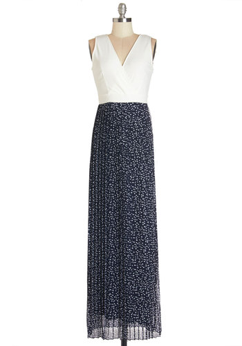 Back and Froth Dress - Blue, White, Polka Dots, Casual, Maxi, Sleeveless, Better, V Neck, Knit, Woven, Twofer, Long, Full-Size Run
