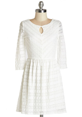 Gift to be Graceful Dress - White, Solid, Cutout, Lace, Casual, A-line, 3/4 Sleeve, Woven, Good, Scoop, Short