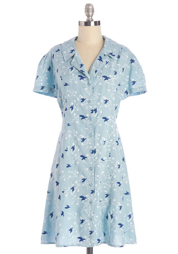 Hover-Achiever Dress - Mid-length, Woven, Blue, Print with Animals, Buttons, Casual, Shirt Dress, Short Sleeves, Better, Collared, Critters, Bird, Woodland Creature