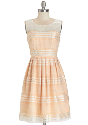 Fanciful Flair Dress in Peach - Prom, Wedding, Bridesmaid, Pastel, Woven, Stripes, Pleats, Special Occasion, A-line, Sleeveless, Better, Pink, Tan / Cream, Variation, Mid-length, Show On Featured Sale