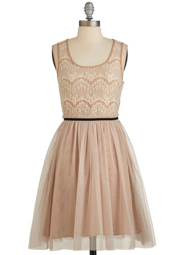Charismatic Cameo Dress - Tan, Lace, Belted, Party, A-line, Sleeveless, Woven, Better, Scoop, Mid-length