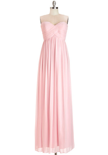 Gliding through the Garden Dress in Rose - Maxi, Prom, Wedding, Bridesmaid, Pastel, Long, Chiffon, Woven, Pink, Solid, Special Occasion, Luxe, Strapless, Variation, Sweetheart