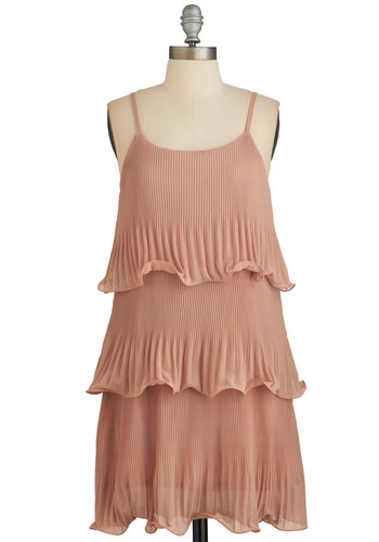About to Flounce Dress - Blush, Solid, Pleats, Tiered, Tent / Trapeze, Summer, Woven, Good, Scoop, Mid-length, Ruffles, Party, Vintage Inspired, 20s, Spaghetti Straps, Pastel