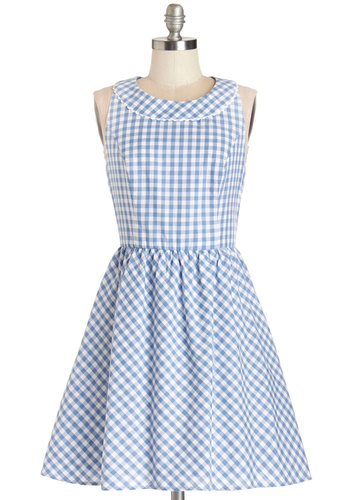 A Piece of the Sky Dress by Louche - Blue, White, Checkered / Gingham, Exposed zipper, Trim, Casual, Sundress, Americana, A-line, Sleeveless, Summer, Woven, Better, International Designer, Scoop, Mid-length, Cotton