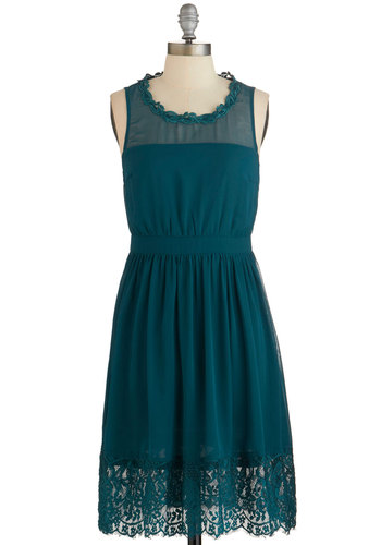 Belle Me a Story Dress in Jade - Green, Solid, Lace, Party, A-line, Sleeveless, Woven, Good, Variation, Scoop, Sheer, Lace, Mid-length