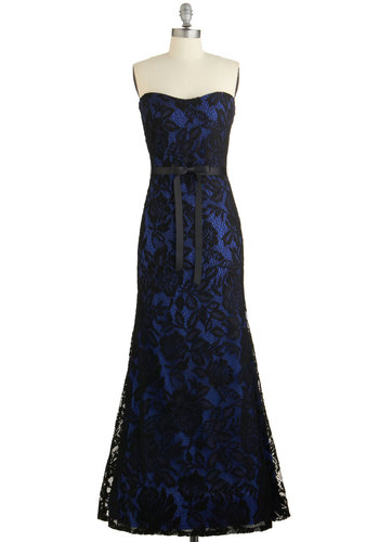 Celeb Spectacular Dress - Blue, Black, Lace, Belted, Special Occasion, Prom, Maxi, Strapless, Woven, Lace, Better, Sweetheart