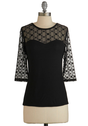 Lovable at First Sight Top in Black - Black, 3/4 Sleeve, Black, Solid, Lace, Party, Cocktail, Girls Night Out, Luxe, 3/4 Sleeve, Variation, Mid-length