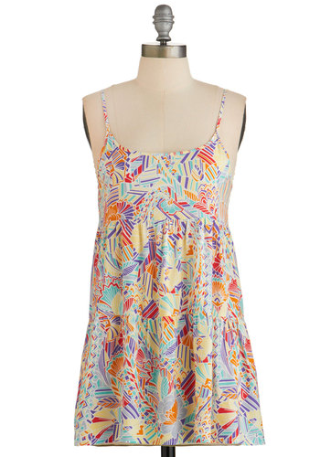 Feel My Sunshine Top - Multi, Print, Spaghetti Straps, Summer, Multi, Sleeveless, Casual, Good, Long
