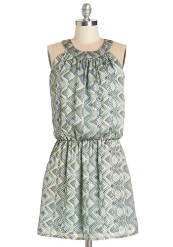 Thyme Travel Dress - Mid-length, Satin, Woven, Multi, Print, Pockets, Casual, Drop Waist, Sleeveless, Better, Green