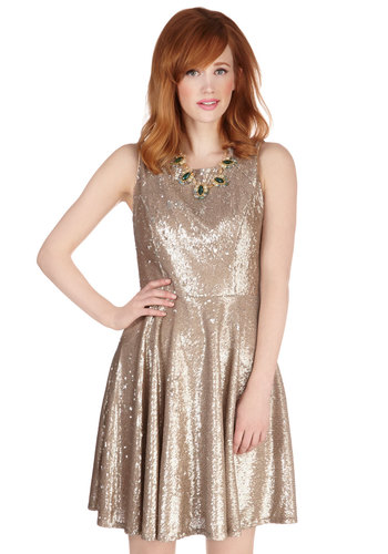 Eva Franco Poised Philanthropist Dress by Eva Franco - Gold, Sequins, Prom, Solid, Special Occasion, A-line, Sleeveless, Woven, Better, Mid-length, Mixed Media, Party, Holiday Party, Homecoming