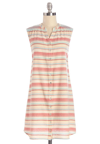 Great Lakes Tour Tunic - Multi, Sleeveless, Multi, Red, Blue, Tan / Cream, Stripes, Buttons, Casual, Sleeveless, Long, Cotton, Woven