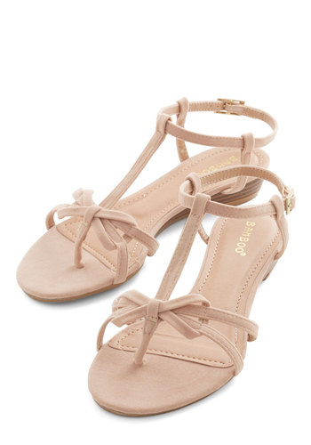 Impromptu Date Sandal in Chai - Low, Faux Leather, Tan, Solid, Bows, Daytime Party, Variation