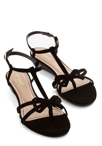 Impromptu Date Sandal in Black - Low, Faux Leather, Black, Solid, Bows, Daytime Party, Beach/Resort, Summer, Strappy, Social Placements