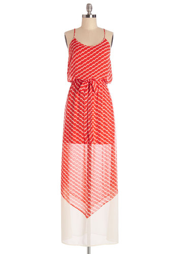 Electric Elegance Dress - Red, Tan / Cream, Print, Belted, Casual, Beach/Resort, Maxi, Sleeveless, Summer, Woven, Better, Scoop, Long, Chiffon