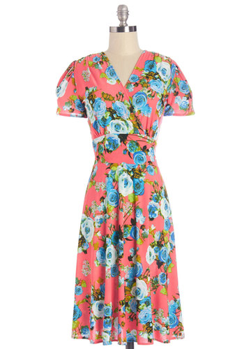 One Floral, All for One Dress in Bright - Multi, Floral, Daytime Party, A-line, Short Sleeves, Summer, Woven, Better, V Neck, Variation, Long