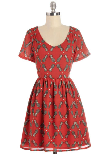 Piña Paradise Dress by Sugarhill Boutique - International Designer, Red, Grey, Novelty Print, Casual, Beach/Resort, Fruits, A-line, Short Sleeves, Summer, Woven, Better, Scoop, Mid-length