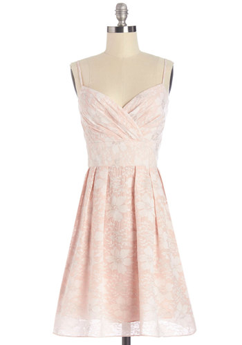 The Sweetest Garden Dress - Pink, Silver, Floral, Pleats, Special Occasion, Prom, Wedding, Bridesmaid, Pastel, Spaghetti Straps, Better, Mid-length, Woven, Lace, Lace, A-line, Sweetheart