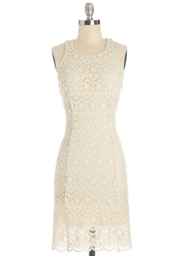 Off to a Stunning Start Dress - Cream, Solid, Lace, Vintage Inspired, 60s, Shift, Sleeveless, Summer, Knit, Better, Mid-length, Cotton, Crochet, Party, Daytime Party