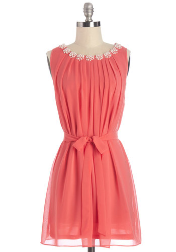 Pop the Question Dress - Coral, Solid, Pleats, Daytime Party, A-line, Sleeveless, Summer, Woven, Better, Scoop, Short, Chiffon, Mixed Media, Pearls, Belted, Social Placements