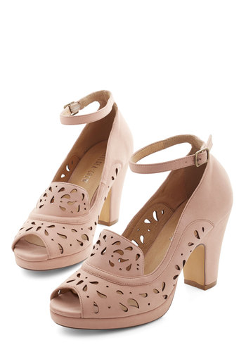 Daiquiri Jamboree Heel in Blush by Chelsea Crew - Pink, Solid, Cutout, Prom, Wedding, Party, Cocktail, Daytime Party, Bridesmaid, Bride, Vintage Inspired, 20s, Better, Peep Toe, Chunky heel, Variation, Mid, Faux Leather