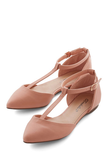 The Time is Ripe Flat - Flat, Faux Leather, Tan, Solid, Wedding, Daytime Party, Good, T-Strap, Work, Pastel, Top Rated