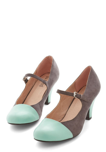 Chic It Out Heel in Charcoal - Grey, Mint, Solid, Wedding, Party, Vintage Inspired, 20s, Colorblocking, Good, Mary Jane, Variation