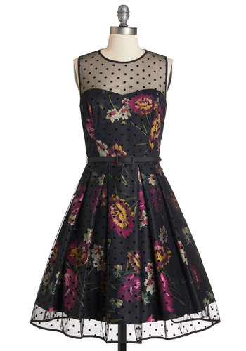 Leave Them Breathless Dress in Jewel - Variation, Multi, Polka Dots, Floral, Pockets, Belted, Special Occasion, Party, Fit & Flare, Sleeveless, Woven, Better, Sheer, Sweetheart, Homecoming
