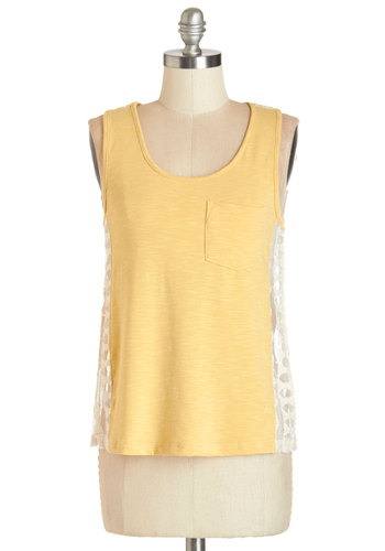 Boho at Home Tank - Yellow, Sleeveless, Knit, Mid-length, Yellow, Solid, Lace, Casual, Summer, Pockets, Scoop, Good