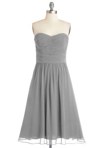 Luminous and Lovely Dress in Sterling - Grey, Solid, Special Occasion, Prom, Wedding, Bridesmaid, Fit & Flare, Woven, Best, Exclusives, Variation, Sweetheart, Mid-length, Ruching, Strapless, Homecoming, Full-Size Run
