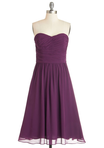 Luminous and Lovely Dress in Plum - Prom, Wedding, Bridesmaid, Homecoming, Purple, Solid, Special Occasion, Fit & Flare, Woven, Best, Exclusives, Variation, Sweetheart, Mid-length, Ruching, Strapless, Party, Full-Size Run, Valentine's
