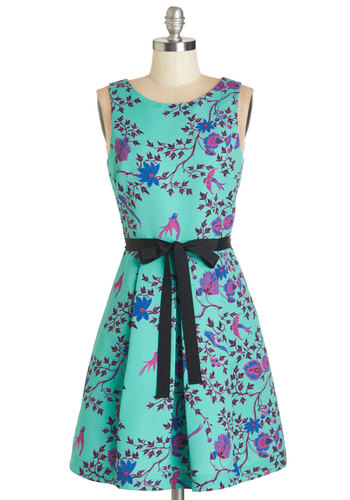 Plenty by Tracy Reese Sweet Splendor Dress by Plenty by Tracy Reese - Multi, Print, Pleats, Belted, Daytime Party, A-line, Sleeveless, Woven, Better, Scoop, Blue, Social Placements, Bird, Woodland Creature, Spring, Mid-length