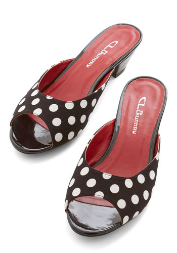 As Far as I Can Snazzy Heel - Black, White, Polka Dots, Party, Rockabilly, Pinup, Vintage Inspired, 50s, Good, Chunky heel, Peep Toe