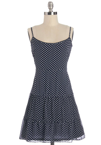 Fanciful Meeting You Here Dress - Blue, White, Polka Dots, Casual, Drop Waist, Summer, Woven, Good, Mid-length, Chiffon, Backless, Festival, Spaghetti Straps, Boho