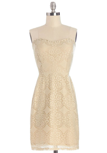 Now That's Classy Dress - Tan, Solid, Eyelet, Party, Shift, Strapless, Summer, Woven, Good, Sweetheart, Mid-length, Lace