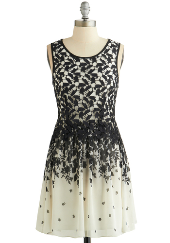 Terrace Regalement Dress - Black, White, Floral, Lace, Party, Daytime Party, A-line, Sleeveless, Woven, Good, Scoop, Short, Chiffon, Mixed Media