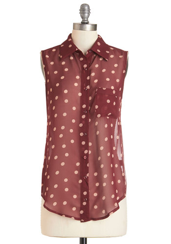 Polka Street Top - Red, Tan / Cream, Polka Dots, Buttons, Pockets, Casual, Sleeveless, Spring, Summer, Fall, Mid-length, Red, Sleeveless