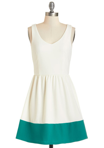 Border of the Day Dress - Cream, Green, Daytime Party, Graduation, Colorblocking, A-line, Sleeveless, Good, V Neck, Short, Knit