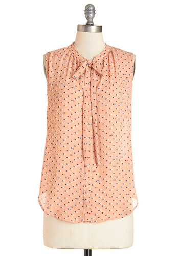 Just Imagine Top - Mid-length, Chiffon, Sheer, Orange, Polka Dots, Tie Neck, Work, Pastel, Darling, Sleeveless, Orange, Sleeveless