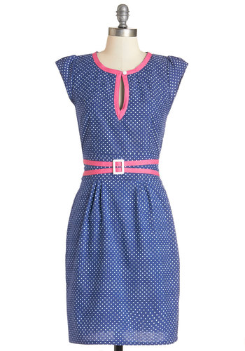 Dessert Swap Dress by Trollied Dolly - Blue, White, Polka Dots, Buckles, Buttons, Cutout, Casual, Shift, Cap Sleeves, Woven, Better, International Designer, Scoop, Mid-length, Cotton, Denim, Pink