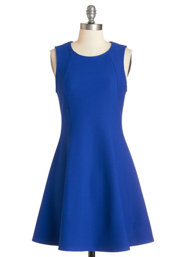 Bring the Party Dress - Blue, Solid, Party, A-line, Sleeveless, Good, Scoop, Knit, Minimal, Short