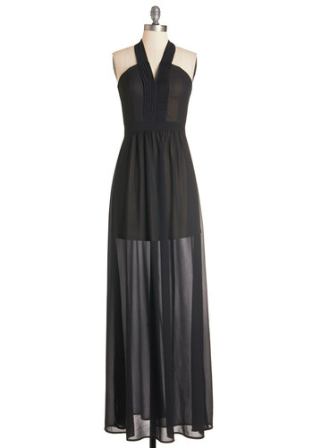Radiant Resort Dress in Noir - Black, Solid, Backless, Special Occasion, Prom, Wedding, Bridesmaid, Maxi, Sleeveless, Woven, Better, Long, Chiffon, Variation