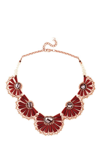 Instantly Impressive Necklace - Red, Pink, Solid, Beads, Flower, Luxe, Statement, Red, Silver